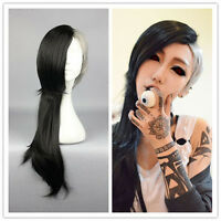 HOT!! Ghoul Uta Mask Maker Wig Long Wavy Black and Silvery Anime Cosplay Wig