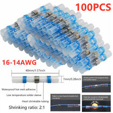 100Pcs Heat Shrink Butt Wire Connector Solder Seal Electric 14-16 Gauge Terminal