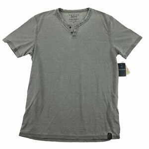Lucky Brand Mens Venice Burnout Henley Notch Short Sleeve T-Shirt Gray M