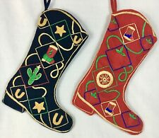 Lot of 2 Cowboy Boot Western Christmas Stockings Red & Black Velvet Embroidered
