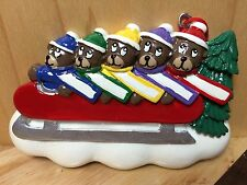 FIVE BEARS ON SLED PERSONALIZE YOURSELF RESIN CHRISTMAS / HOLIDAY TREE ORNAMENT