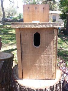 Blue bird wood bird house nesting box hand made