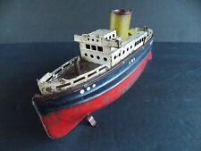 RARE FLEISCHMANN TIN CLOCKWORK WIND UP OCEAN LINER SHIP BOAT GERMANY - WORKS