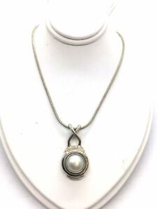 SARDA Designs - Solid 925 Sterling Silver & Pearl Bali Style Pendant with Chain