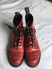 Dr Martens Boots Red Patent Tartan Size 6