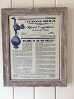 Tottenham Hotspur/Spurs Framed 60 Year Old Programme From 1959