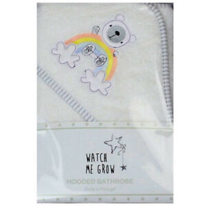 Baby Unisex Hooded Towel Rainbow Teddy Bear Bath Robe Shower Wrap Newborn