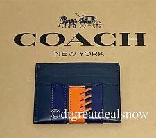 NWT Coach Slim Card Case Holder Baseball Stitch Midnight Leather F77934