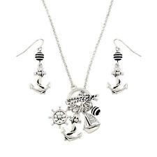 "Sailor Necklace & Earrings Set - Sparkling Crystal - Fish Hook - 18"" Chain"
