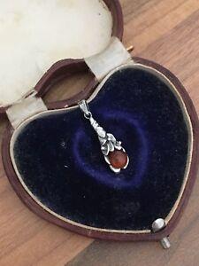 Sterling Silver Pendant Amber Ornate  1.5gr