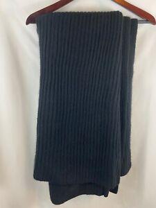 "Restoration Hardware 100% Cashmere Ribbed Throw Blanket Black 50x70"" NWT"