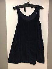 90's Vintage Mini Velvet Dress/ Navy Colour/ A Line/ Buttoned Straps UK 10