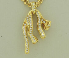 "Panther Diamond Necklace 1.60 Carats 18K Yellow Gold 28.0"" Long"