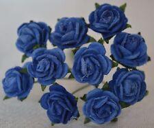 50 ROYAL BLUE Rose (1cm) Mulberry Paper Flowers wedding miniature card