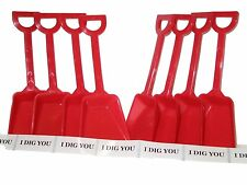 8 Red Toy Beach Sand Shovels & I Dig You Stickers Mfg USA Great Party Favors*