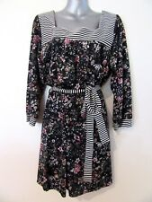 CAROLINE MORGAN Long Sleeve Black Floral Striped Stretch Mini Dress Belt BNWT 14