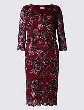 M&S Per Una Floral Vestido recto de doble capa de encaje Talla UK 14 Corto BNWT