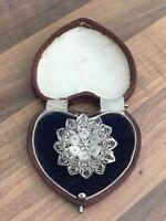 Sterling Silver Brooch, Pendant Filigree Flower 7.75gr