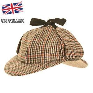 NEW TWEED DEERSTALKER SHERLOCK HOLMES COUNTRY HUNTING WOOL HAT UK SELLER