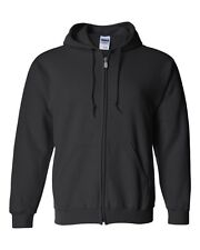 GILDAN BIG MENS BLACK FULL ZIP FLEECE HOODIE - LARGE U.S SIZES 2XL 3XL 4XL 5XL