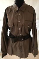 HEINE braune Damen Hemd Bluse Gr 44 Langarm Brusttaschen Baumwolle Sporty Navy