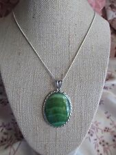 ~ Natural Green Hemimorphite Gemstone Pendant & Silver Plated Chain ~ (a)