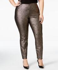 Alfani Womans Black Brocade Metallic Ankle Skinny Pants Plus Size 14 MSRP $74