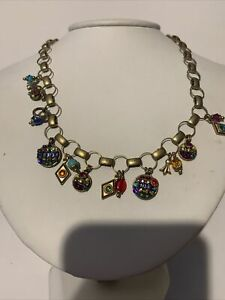 MICHAL GOLAN SIGNED RARE DANGLE STONES & CRYSTALS HANDCRAFTED NECKLACE ADJUST.