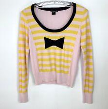 Sonia Rykiel for H&M Jumper UK Size 10 Medium Yellow Pink Striped Wool