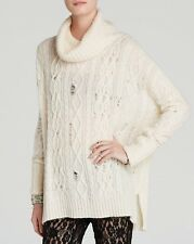 New! Ivory Free People Complex Cable Turtleneck Sweater F593X650 Size Small 1336