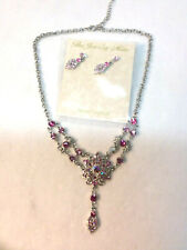 Vintage style Victorian style PINK Austrian Crystal pendant and earrings