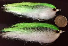 (2) Chartreuse Baitfish Flies. Fly Fishing Saltwater, Pike, Musky, Bass. bf13