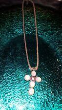 Earrings On Pink Thong Enamel, Sparkle, Flower Cross