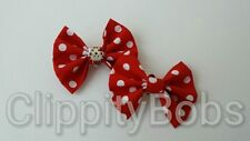 PAIR OF HANDMADE LADIES RED WHITE POKA DOT SPOTTED PRINT FABRIC SHOE BOWS CLIPS