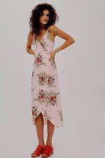 Topshop Pink Floral Strappy Wrap Midi Dress - Size 6