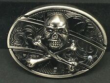 Skull and Crossbones Belt Buckle with Slide Out Knife, Very Unique item. Style A