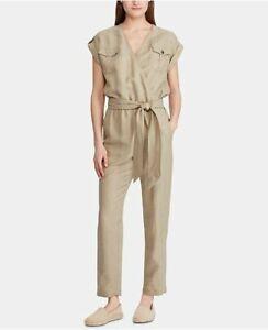 Lauren Ralph Lauren Womens Sz 16 Linen Utility Jumpsuit Sage Green Relaxed Fit