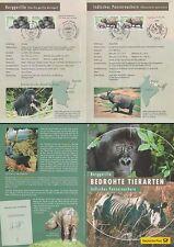 Klappkarte Dt.Post DIN A5, Bedrohte Tierarten Berggorilla Nashorn (MiNr.2182-83)