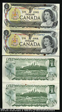 CANADA $1 P85 1973 QUEEN *UNCUT* PAIR AUNC TONE SHIP WORLD CURRENCY PAPER MONEY