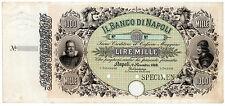 1000 LIRE BANCO DI NAPOLI 01.11.1869 SPECIMEN/CAMPIONE PROOF BW&CO. LONDRA (R5)