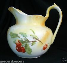 SEVRES China USA Semivitreous Porcelain Milk Pitcher/ Jug Cherries Antique