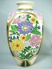 8 1/2'  HARD TO FIND HAND PAINTED AMERICAN SATSUMA VASE GILT TRIM FREE SHIPPING