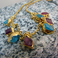 Handmade Ancient  Rough Ruby & Apatite Necklace Gold  Over 925K Sterling Silver