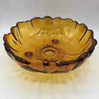 Vtg Amber Glass Large Sunflower Flower Fruit Salad Centerpiece Bowl Footed Heavy