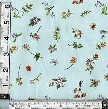 PATCHWORK/CRAFT FABRIC CATS IN THE GARDEN TURQUOISE FLOWERS  100% COTTON
