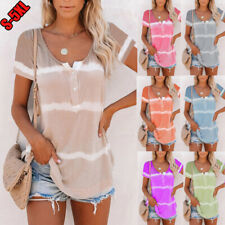 Women V-Neck Short-Sleeved Printed T-Shirt Casual Blouse Button Tie-Dye Plus Top