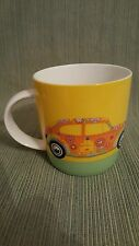 FUN Volkswagen Love That Bug coffee Mug VW hippie flowers Girlie EUC