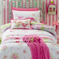 Jiggle Giggle Girls Shabby Chic Floral Single Bed Quilt Cover Set Doona Cover