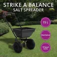 vidaXL Walk Behind Salt Spreader PVC and Steel 15L Garden Lawn Tool Seed Sand