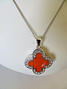 Marie Claire Coral Clover Pendant Necklace Swarovski Crystals w/Sterling Silver